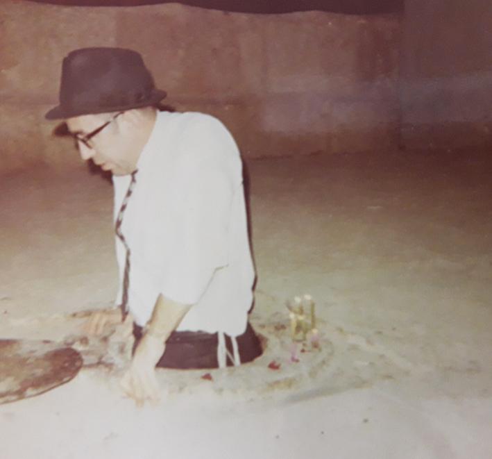 """Rabbi Zvi Aryeh Rosenfeld z""""l in the tombsite of Shmuel Hanavi"""