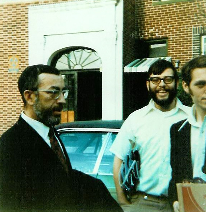 """Rabbi Zvi Aryeh Rosenfeld z""""l in the USA with his students"""